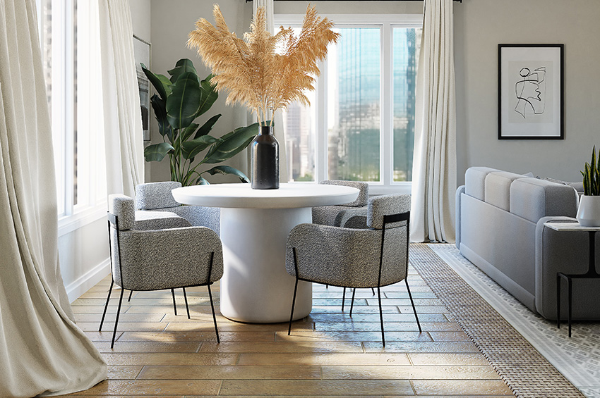 Hardwood flooring in small dining room