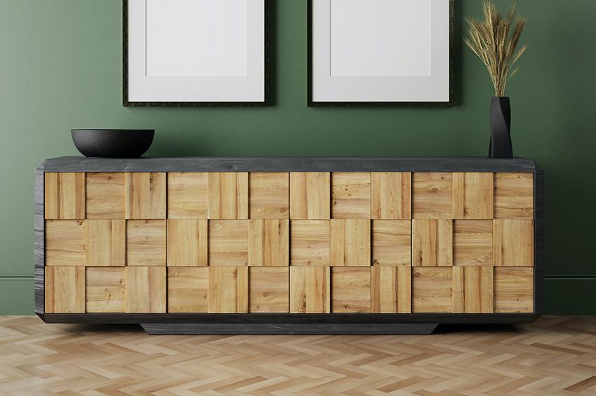Herringbone pattern vinyl floor with chic modern sideboard.