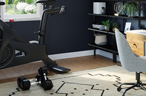 A home office includes a stationary bicycle to make workouts easy even during a busy day